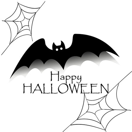 Happy halloween concept. Black bat with text and spider net. Party scary banner Ilustração