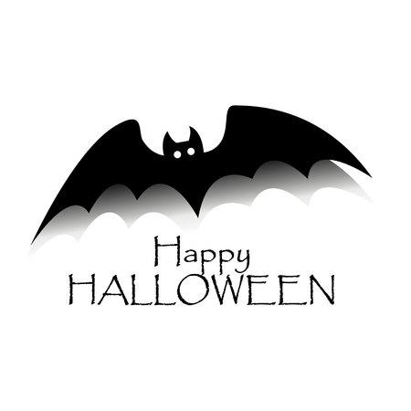 Happy halloween concept. Black bat with text. Party scary banner Ilustração