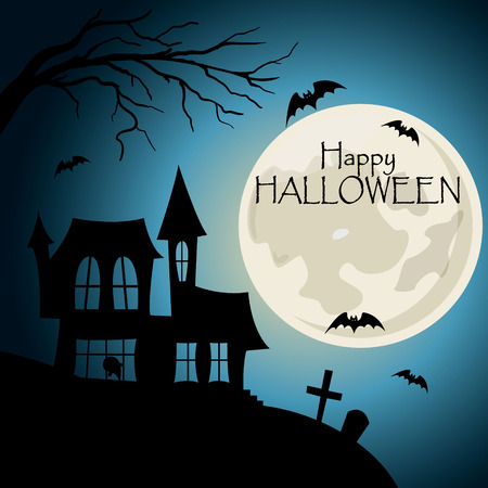 Happy halloween post card. House with cemetery silhouette with bats and lettering