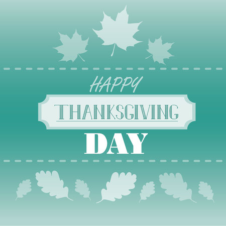 Happy Thanksgiving day concept. Autumn green gradient background with lettering Ilustração