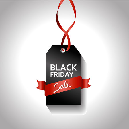 Black friday gradient tag with red ribbon. Sale concept. big offer sign on gray background
