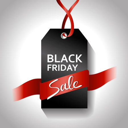 Black friday gradient tag with red ribbon. Sale on gray background