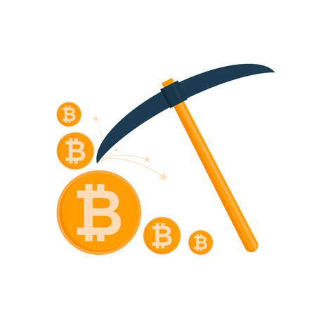 Bitcoin mining concept. Pickaxe with gold coins isolated