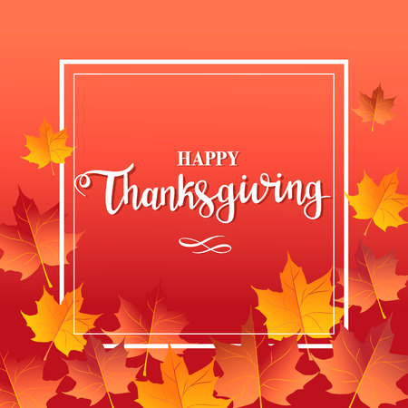 Happy thanksgiving day red background with maple leaves and lettering Ilustração