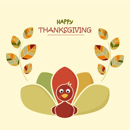 Happy thanksgiving day concept. Funny colorful turkey banner with colorful leaves Banco de Imagens
