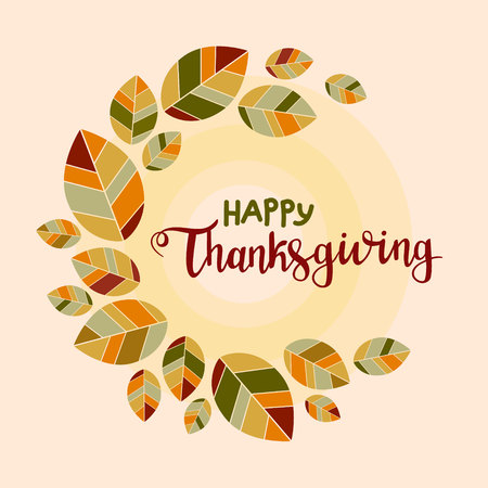 Happy thanksgiving background. Poster with colorful flat leaves Banco de Imagens