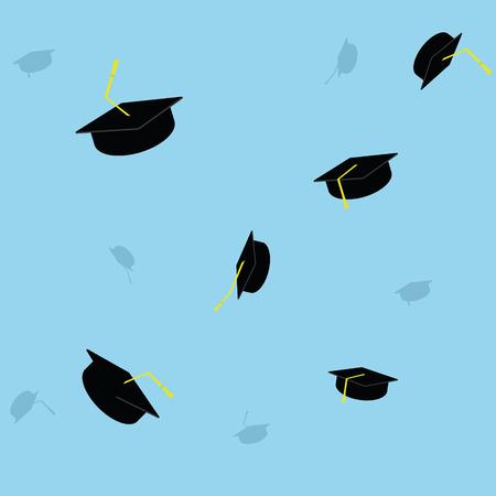 Graduation cap throwing background. Finish education college school university Ilustração