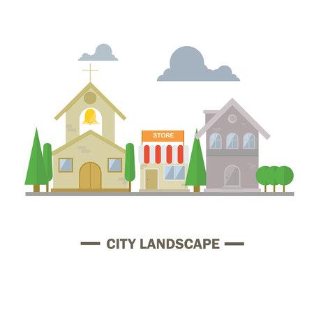 City landscape flat design illustration
