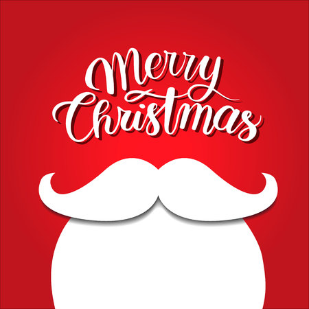 White beard on red background. Merry Christmas concept. Santa mustache. New year holidays.