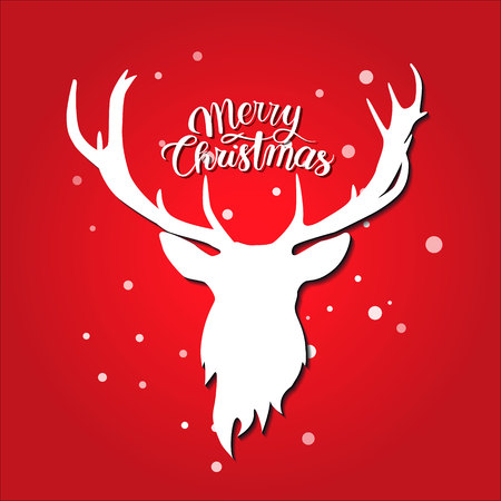 Merry Christmas postcard. White deer silhouette on red background. Snow with lettering. Ilustração