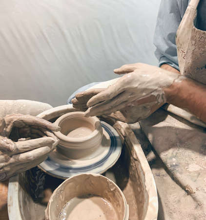 Pottery lesson with a master