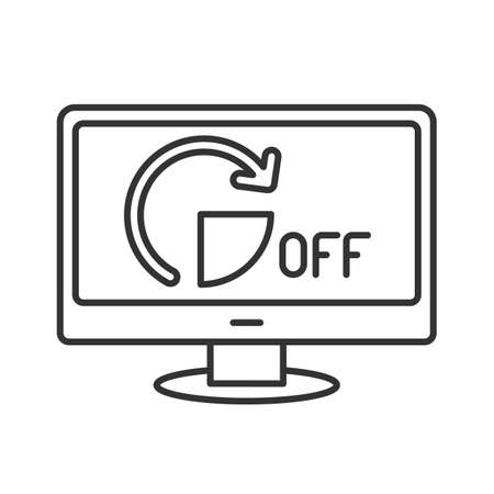 line icon, shutting down the computer for a period of time