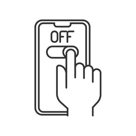 line icon, turn off the phone, button slider, hand