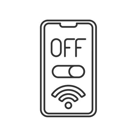 line icon, turn off the phone, button slider, wifi