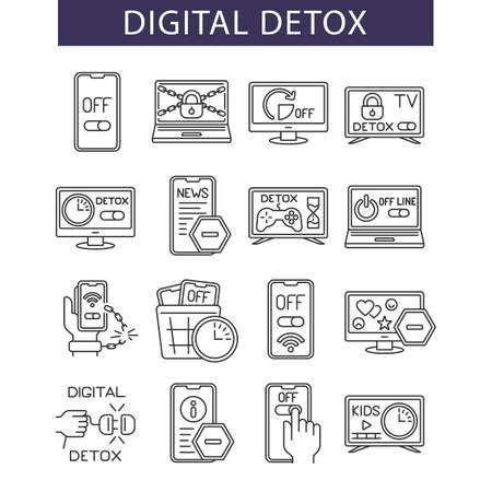 line icons set, digital detox