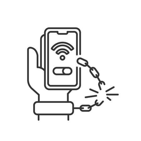 line icon, release from the shackles of gadgets Ilustración de vector