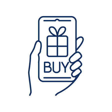 line icon, Hygge, buying a gift online