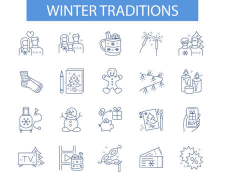 line icon, Hygge, winer traditions Illustration