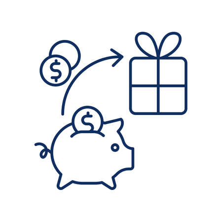 line icon, Hygge, piggy bank, money for a gift