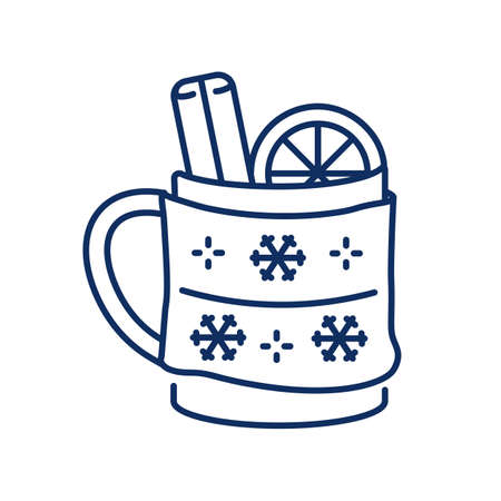 line icon, Hygge, a cup of hot mulled wine