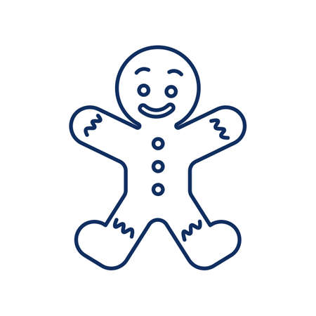 line icon, symbol of new year, gingerbread man