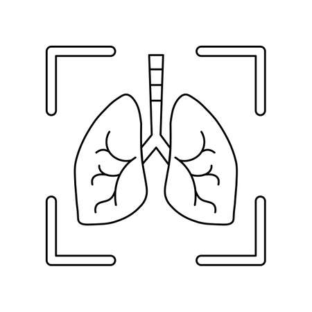 fluorography icon, line icon, schematic lungs