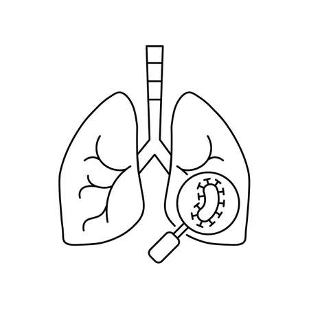 line icon, pneumonia, schematic lungs with bacteria