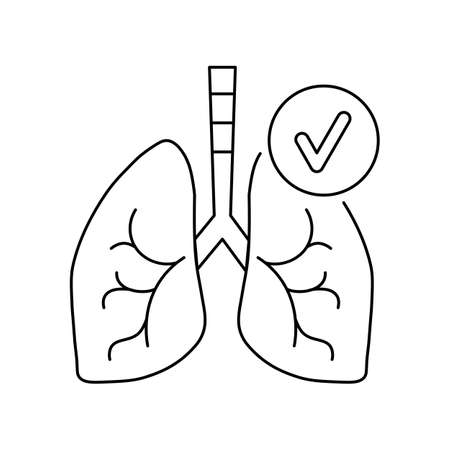 line icon, schematic lungs is normal