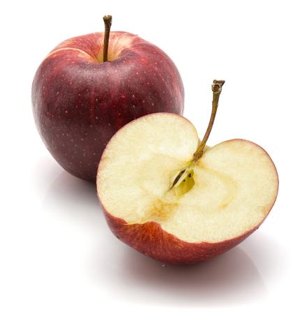 ガラリンゴ、全体と半分、白い背景に隔離 写真素材