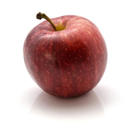 白い背景に隔離された茎を持つ1つの全体のガラリンゴ