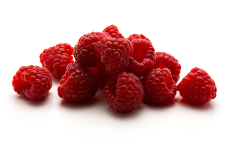 Fresh red raspberries isolated on white background  Stock Photo
