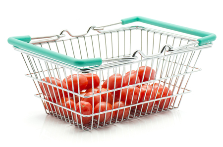 Cherry tomatoes isolated on white background in a shopping basket  Stock Photo