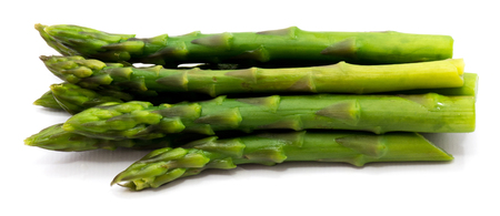 Group of boiled steam asparagus isolated on white background