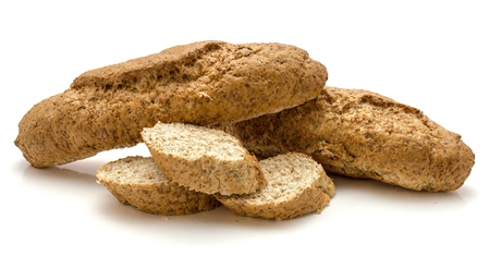 Whole wheat bran bread isolated on white background two bagels and three sliced pieces