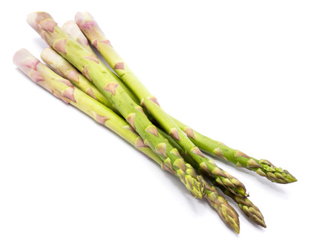 Group of raw asparagus isolated on white background