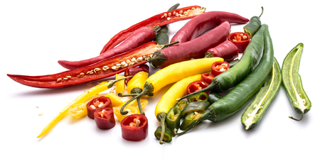 Three colors of Chilli peppers isolated on white background (red, yellow, green)  Stock Photo