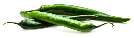 Three green Chilli peppers isolated on white background