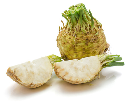Fresh celery root isolated on white background one whole and two quarters  Stock Photo