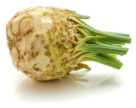 Fresh celeriac isolated on white background one whole bulb