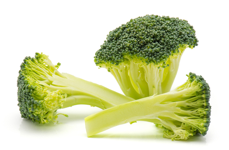 Fresh broccoli isolated on white background one tree like and two sliced pieces