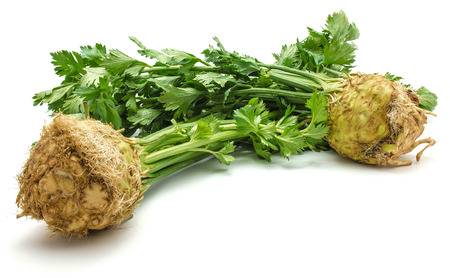Fresh celery root with leaves isolated on white background two bulbs  Stock Photo