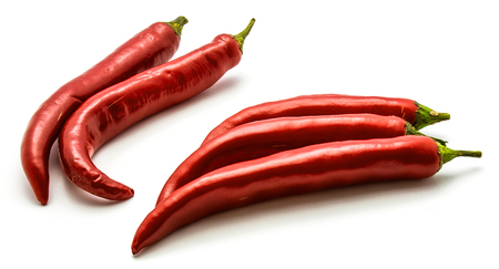 Whole red Chili peppers isolated on white background  Stock Photo