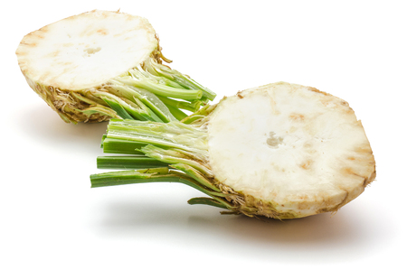 Sliced fresh celery root isolated on white background two halves cross section