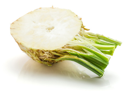 Fresh celery root isolated on white background one half