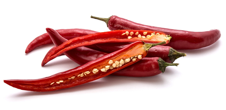 Red Chili pepper, whole and two halves, isolated on white background  Stock Photo