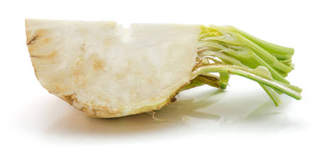 One quarter of fresh celery root isolated on white background