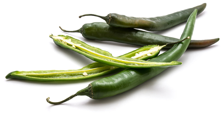 Group of green Chili peppers isolated on white background