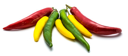 Group of three color whole Chili peppers isolated on white background  Stock Photo