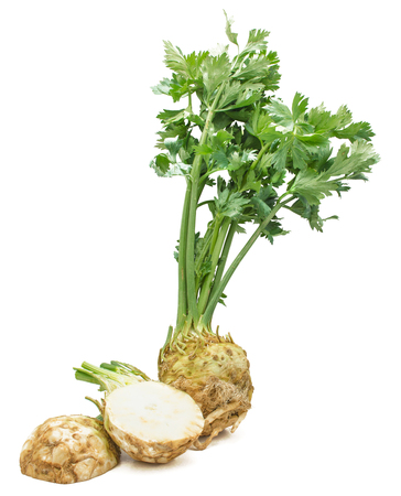 Fresh celery root isolated on white background one whole and sliced two halves  Imagens