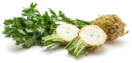 Fresh celery root isolated on white background one whole and two sliced halves  Stock Photo